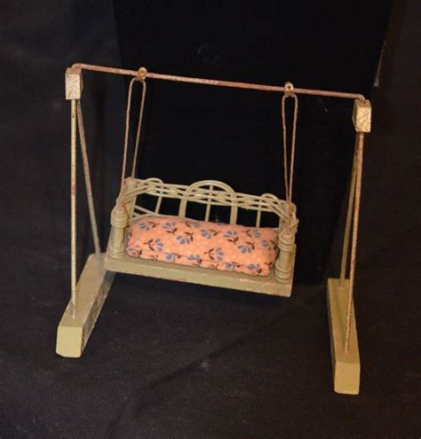 swing dolls old miniature wicker wood doll swing dollhouse from