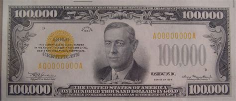 $100,000 bill will be on display at the American ... $100000 Bill