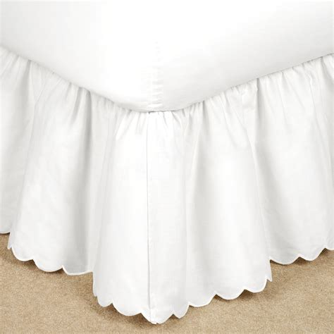 scalloped bed skirt brittany gathered scalloped cotton bedskirt