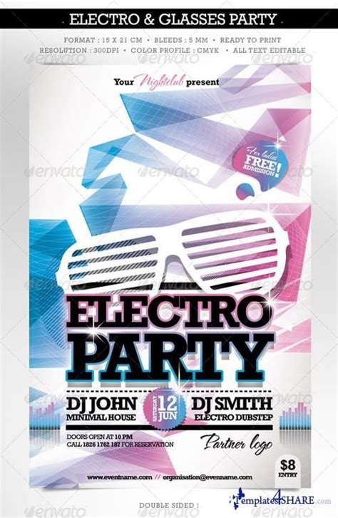 graphicriver electro fashion glasses flyer double sided