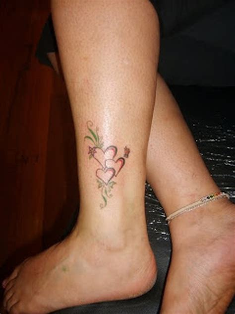 three heart tattoo designs designs on ankle tattoos book