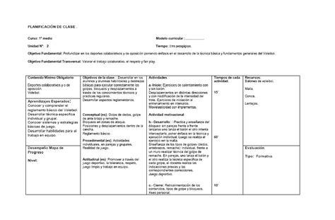 Modelo De Planificacion Curricular De Teoria Y Dise 241 O Curricular Planificaci 243 N Educaci 243 N F 237 Sica Unidad Voleibol