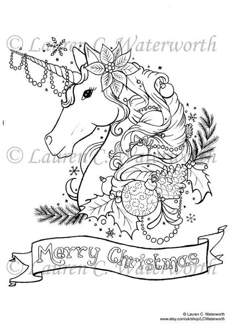 Christmas Unicorn Coloring Page | detailed unicorn coloring pages sketch coloring page