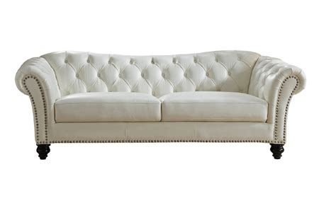 Sofa White Leather Mona Top Grain Ivory White Leather Sofa