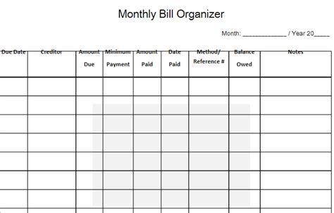 bills organizer template madrat co