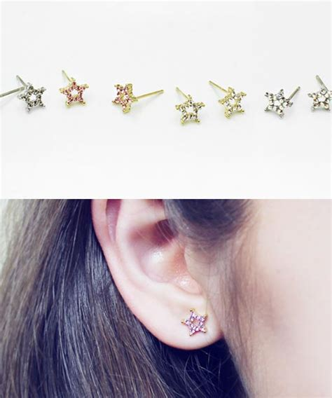 South Korean Fresh Flowers Earrings Pink Anting Panjang 16g cz studded flower barbell ear piercing stud cartilage earrings helix piercing hiunni