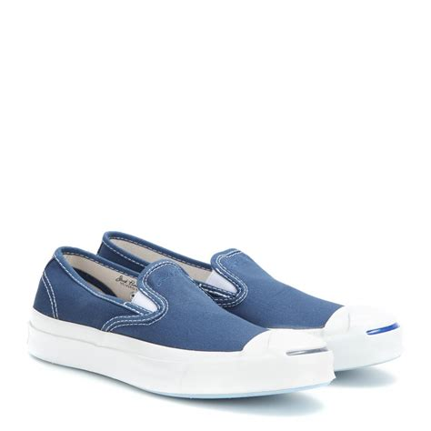 purcell slip on sneaker lyst converse purcell slip on sneakers in blue