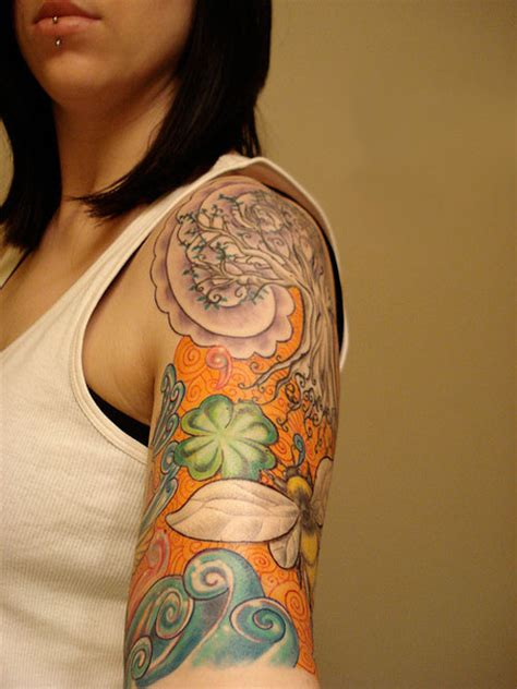 tattoo girl half sleeve 25 fascinating half sleeve tattoos for women creativefan