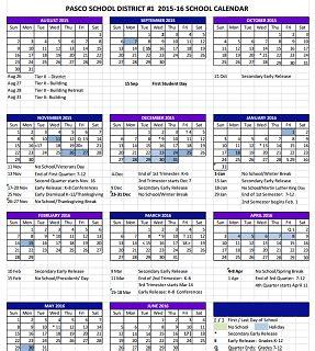 2018 Calendar Wa Updated Pasco School Calendar 2015 16 Kulr8 News