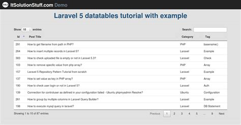laravel quick tutorial laravel 5 implementing datatables tutorial using yajra