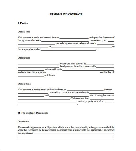 remodeling contract template home remodeling contract 10 free documents in pdf