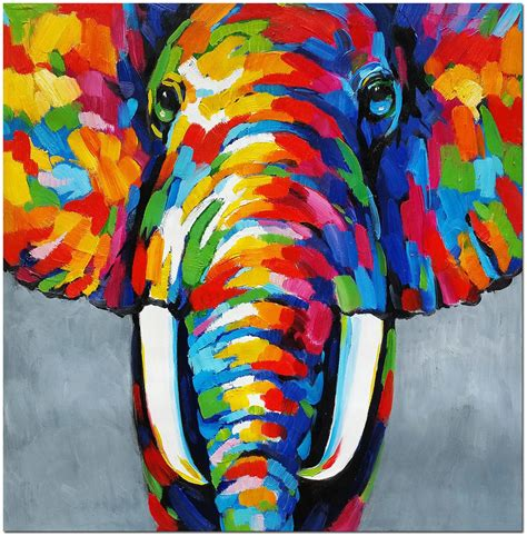 Where To Buy Paintings For Home Decoration by African Elephant Hand Painted Abstract Widlife Animal