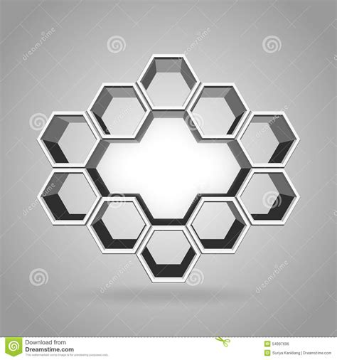 3d hexagon template 3d hexagon pattern stock vector image 54997696