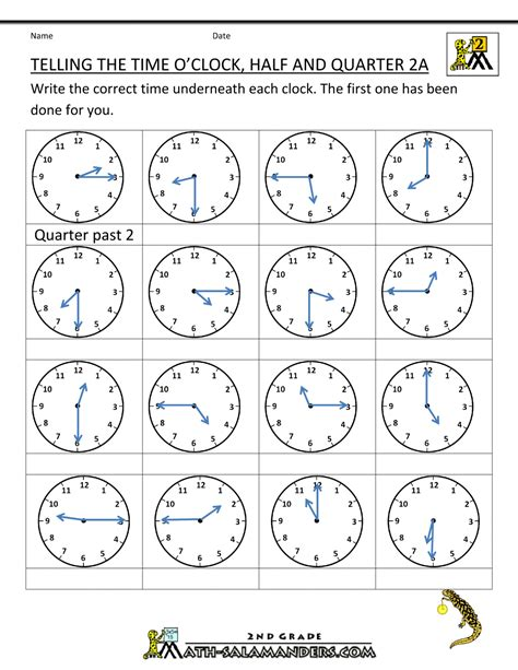 Time To The Hour Worksheets by Learning 7 Lessons A