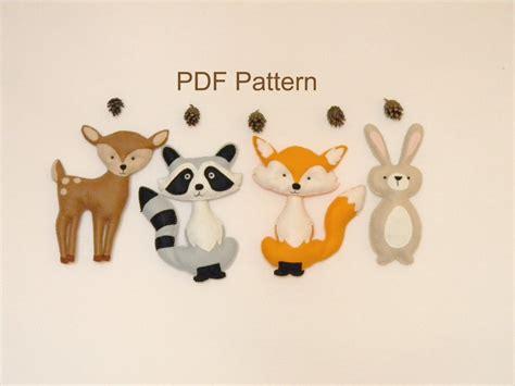 pattern for felt woodland animals woodland animals pdf pattern felt hand sewing fox raccon deer