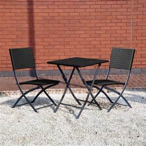 Wicker Bistro Table And Chairs Rattan Effect Table And 2 Chairs Bistro Garden Patio Furniture Set Ebay
