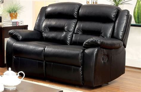 Bonded Leather Recliner Sofa Sheldon Black Bonded Leather Match Reclining Loveseat Cm6320 Lv Furniture Of America