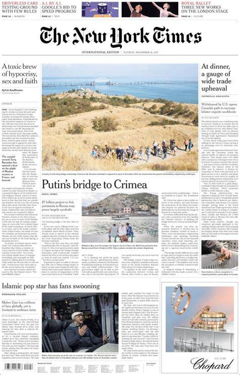 New York Times Mba Internship by Portadas Prensa Internacional De Este 15 De Noviembre
