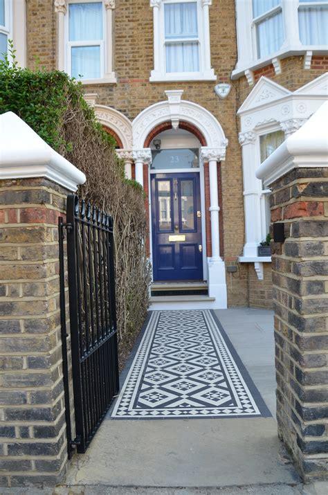 front garden victorian black  white mosaic london