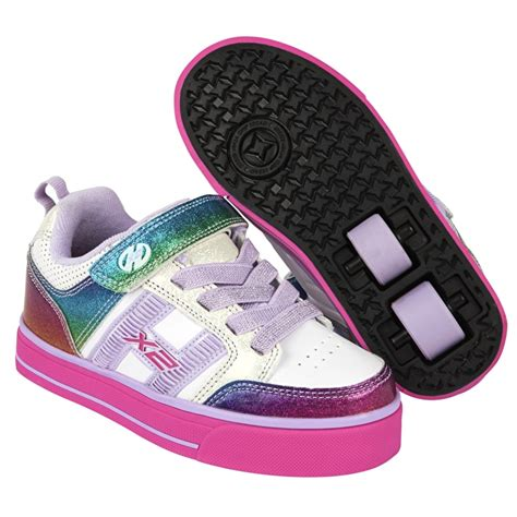 heelys light up shoes heelys x2 bolt plus light up white rainbow pink heelys