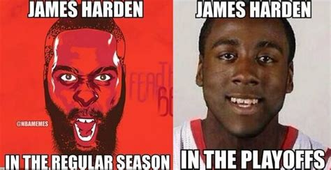 James Harden Memes - james harden regular season vs playoffs rockets http