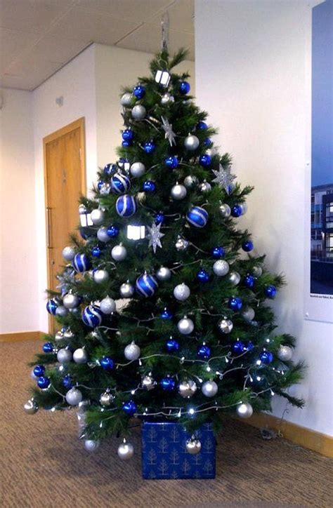 blue silver christmas tree christmas pinterest
