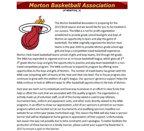 Corporate Sponsorship Letter For Mba by Become A Mba Sponsor Morton Basketball Association