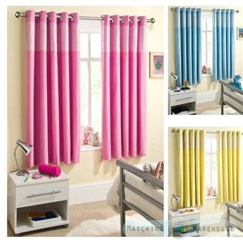 Childrens Gingham Curtain Thermal Blackout Eyelet Ring Top Curtains For Nursery