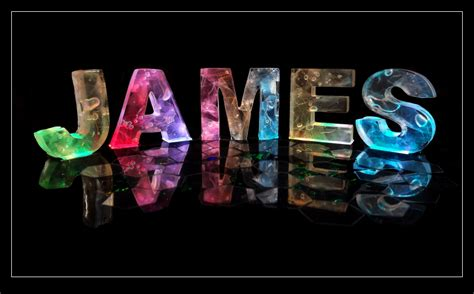 the name james in 3d coloured lights