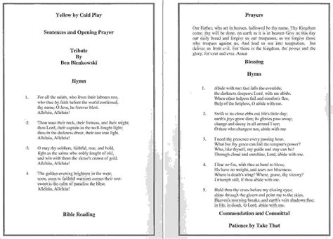7 funeral order of service templateagenda template sle