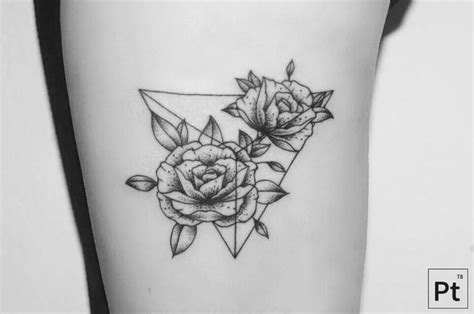 roses geometric tattoo tattoos pinterest