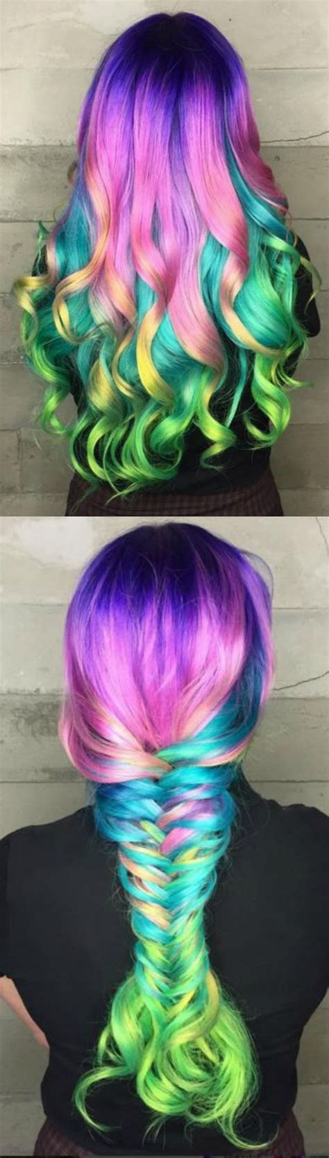 plastic rainbow hairthings collage of multi colored hair in curls big braid