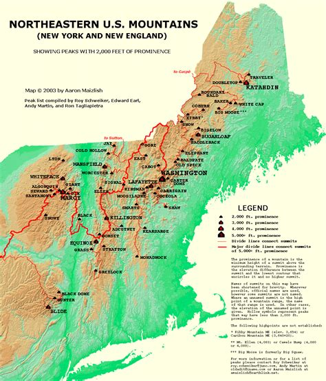 northeastern map western maine peaks july 12 16 2004