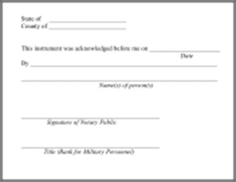 Blank Notary Acknowledgement Form White Gold Notary Block Template