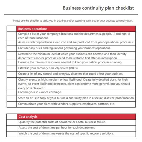 7 free business continuity plan templates excel pdf formats