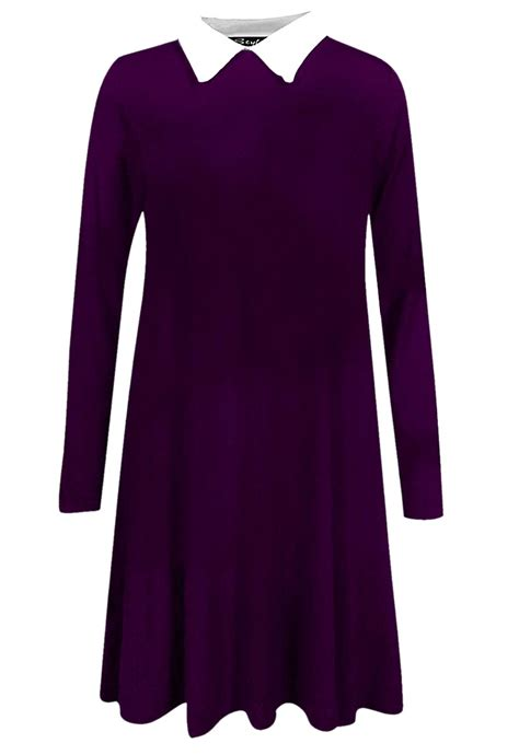 purple swing dress collar swing dress in purple missrebel