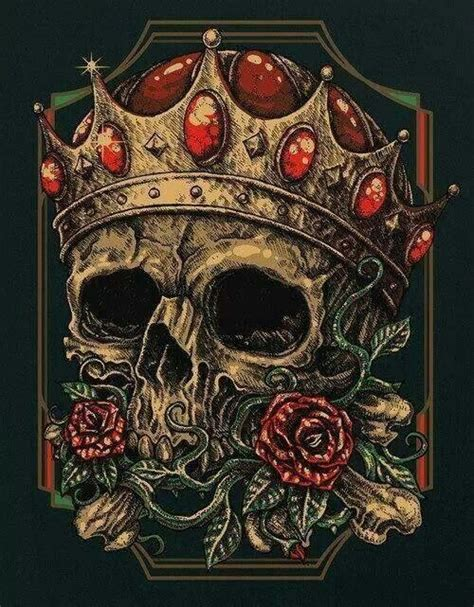 skull crown rose loyal king skull art pinterest