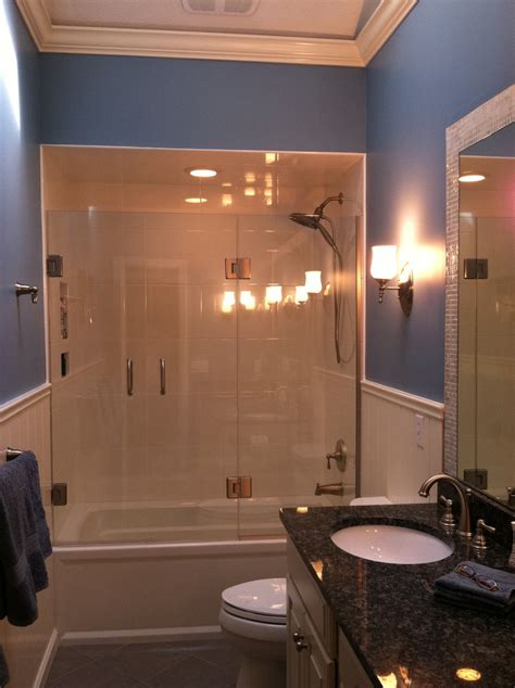shower to bathtub chic frameless shower door in bathroom traditional with