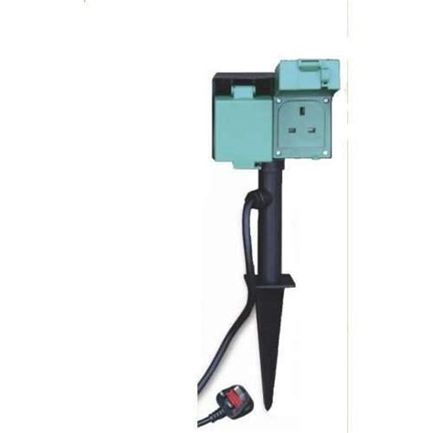 twin outdoor power sockets cable electric supply