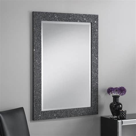 sparkle glitter frame bevelled mirror in grey 4 sizes