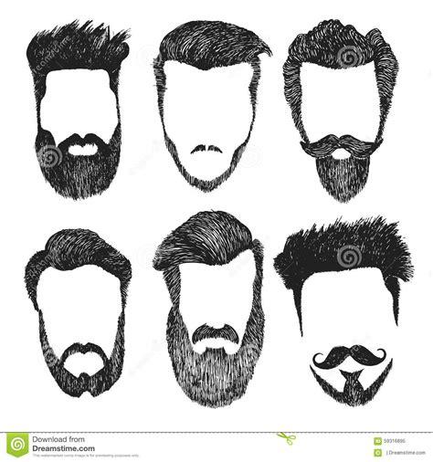 Nino Mustache By Z Shop ensemble de vecteur de coupe de cheveux de style de hippie