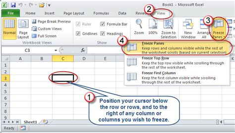 microsoft excel taking the out of freezing panes