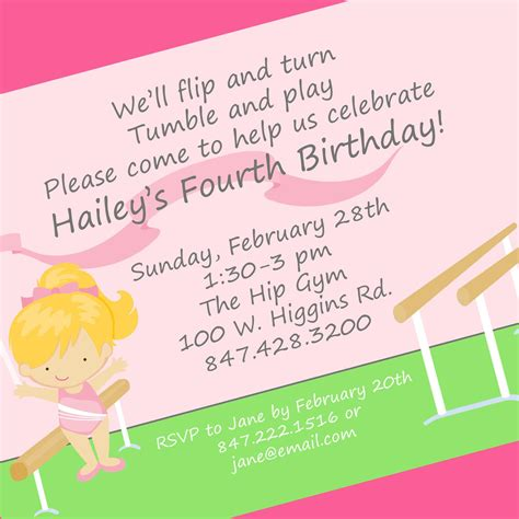 wording ideas for birthday invitations gymnastics birthday invitation wording home