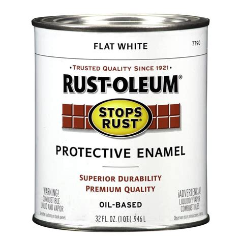 shop rust oleum stops rust white flat based enamel interior exterior paint actual net