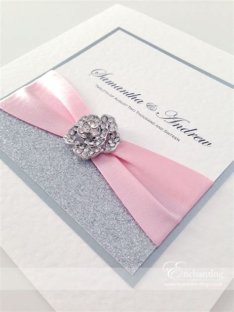 pink and silver wedding invitations pink sparkly wedding invitations the cinderella collection classic fold invitation