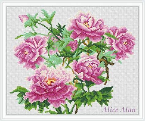 pattern of flower arrangement cross stitch pattern flowers luxurious peonies floral