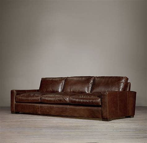 rh maxwell sofa maxwell leather three cushion sofas restoration hardware