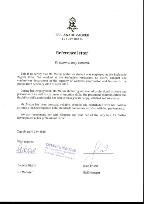 Reference Letter Hospitality reference letter esplanade zagreb hotel