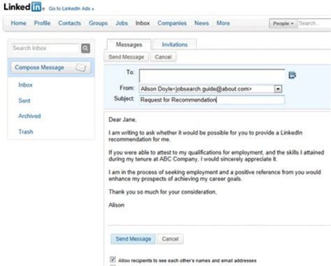 linkedin message template best formats for sending search emails messages