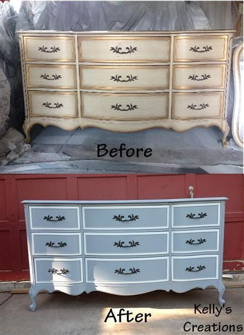 White Refinished Dresser by White And Blue Provincial Dresser Before And After